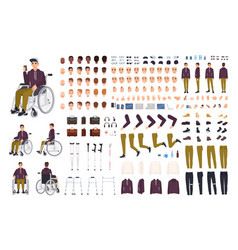 teenage boy with physical disability creation set vector image