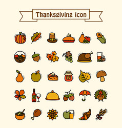 Thanksgiving day icons set harvest vector