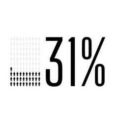Thirty one percent people chart graphic 31 vector