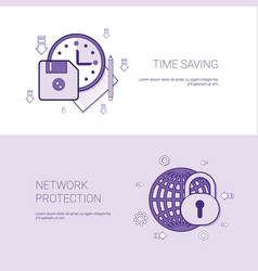 time saving and network protection template web vector image