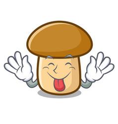 Tongue out porcini mushroom mascot cartoon vector