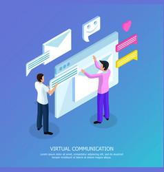 Virtual communication isometric background vector