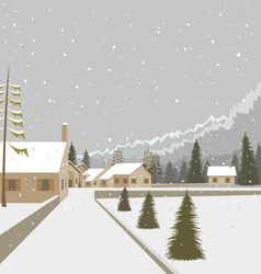Winter mountain village ski resort vector