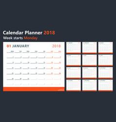 calendar 2018 starts monday calendar vector image vector image