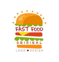 fast food logo original design badge with vector image