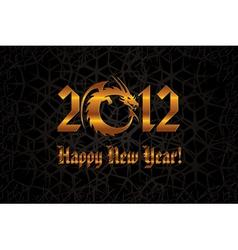 gold dragon 2012 new year card vector image