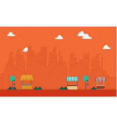 landscape of street stall with urban town vector image vector image