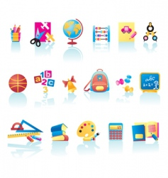 school supplies icons vector image vector image