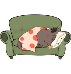 Sleeping mouse cartoon vector image
