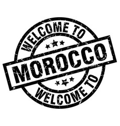welcome to morocco black stamp vector image