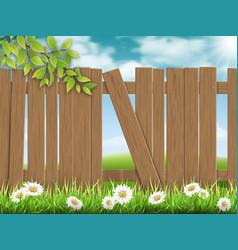 wooden fence broken plank vector image