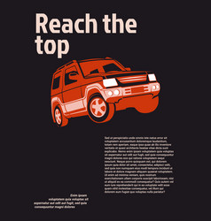 car ad poster red suv on black background with vector image vector image
