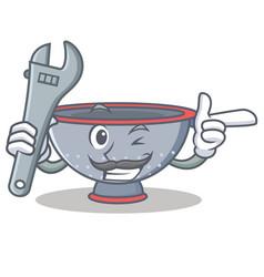 Mechanic colander utensil character cartoon vector