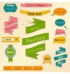 Vintage website design elements set vector image vector image