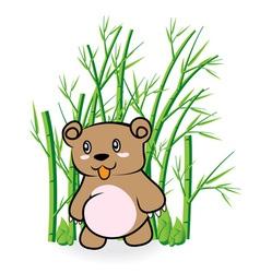 Cute bear in bamboo forrest 01 vector