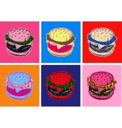 Set Burger Pop Art Style vector image vector image