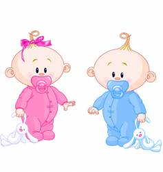 twin babies vector image vector image