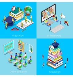 Isometric Educational Concept Online Education vector image vector image