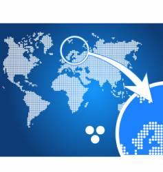 stylish world map circle vector image vector image