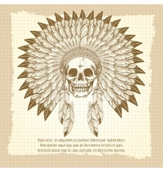 Vintage skull in feathers headdress poster vector image vector image