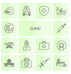 14 clinic icons vector