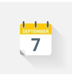 7 september calendar icon vector image
