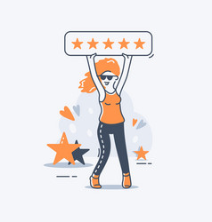 a girl holds a five-star rating sign above her vector image