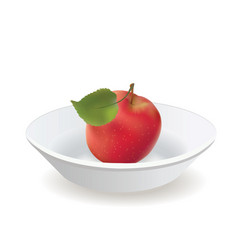 Apple is red with a leaf on a white plate vector