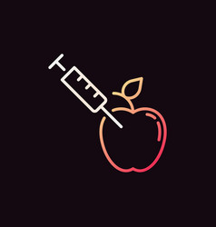 apple with syringe colored outline icon or vector image