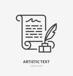 artistic text flat line icon manuscript with vector image