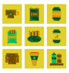 Assembly of flat shading style pixel icon fast vector