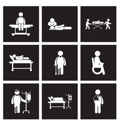 Assembly stylish black white icons patients and vector