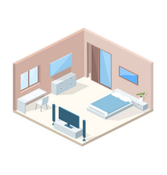Bedroom interior cross section vector