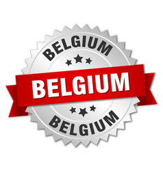 Belgium round silver badge with red ribbon vector