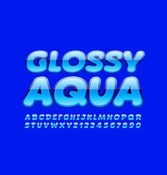 Blue banner glossy aqua with trendy font vector