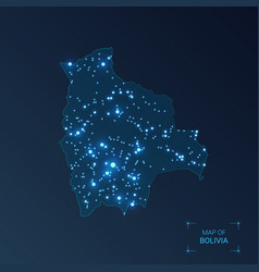 Bolivia map with cities luminous dots - neon vector