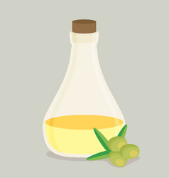Bottle of olive oil and branch flat vector