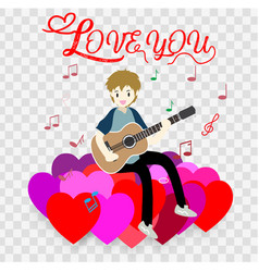 Boy play guitar love for valentines day vector