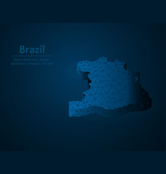 brazil map low poly country of south america vector image