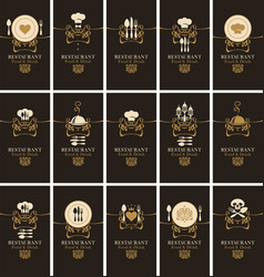 business cards for restaurants in retro style vector image