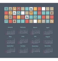 Calendar 2015 year with travel icons vector