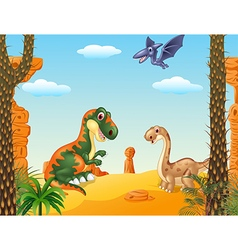 Cartoon happy dinosaur collection with prehistoric vector