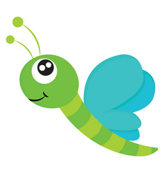 Cartoon picture a smiling dragonfly over white vector