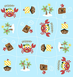 Cartoon seamless pattern with cute crab the vector