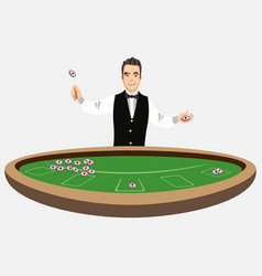 Casino croupier with poker chips vector