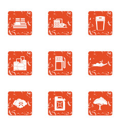 Chemical enterprise icons set grunge style vector