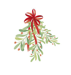 Christmas sprig of mistletoe for greeting cards vector