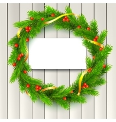 christmas wreath fir branches red berries vector image