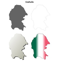 Coahuila blank outline map set vector
