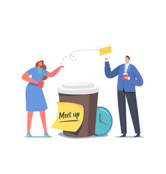 colleagues meetup concept tiny businesspeople vector image